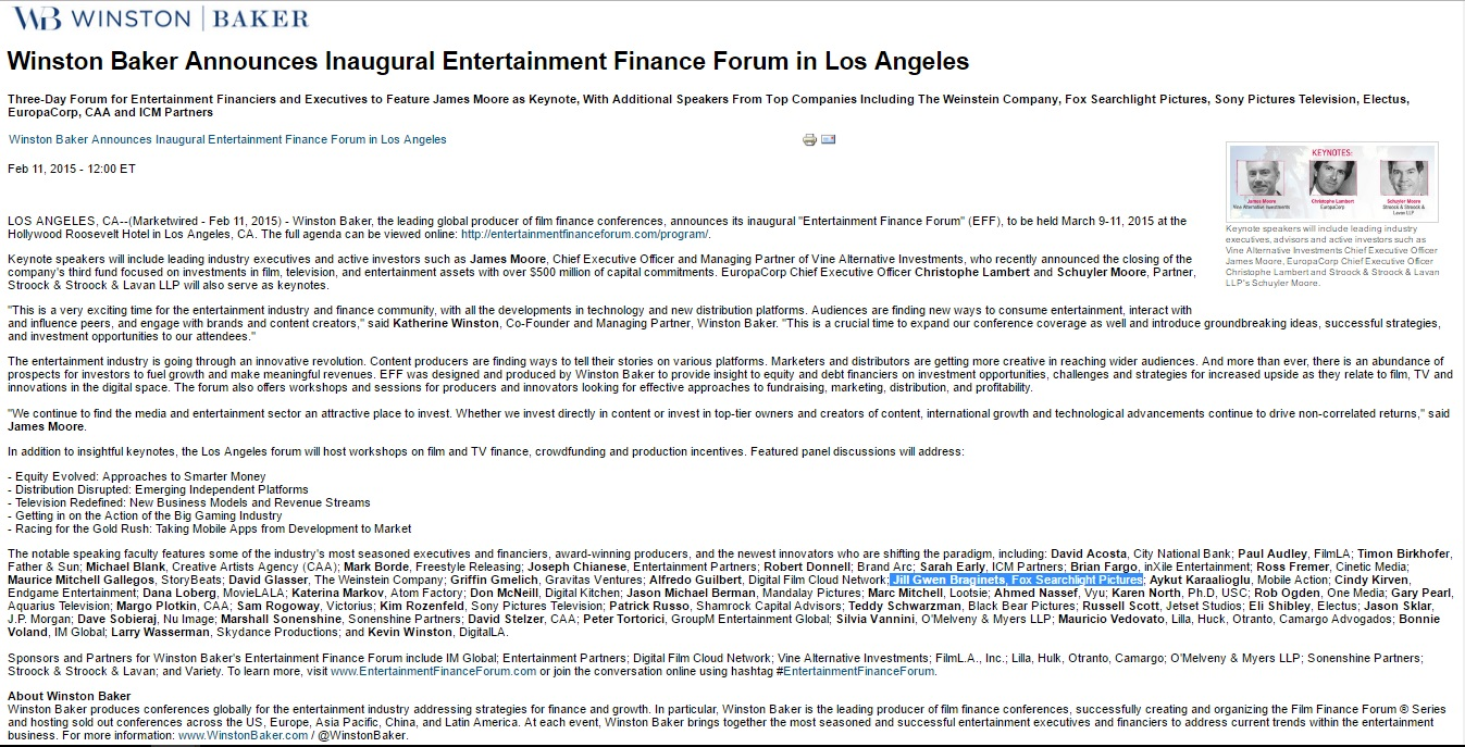 Winston Baker Inaugural Film Forum
